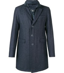 herno front zipped overall coat - blue