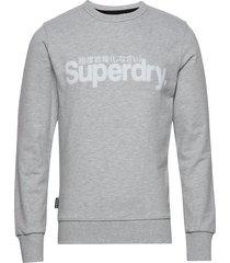 core logo faux suede crew ub sweat-shirt tröja grå superdry