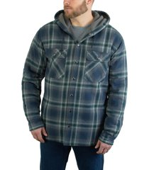 wolverine men's byron hooded shirt jac dark navy plaid, size xl