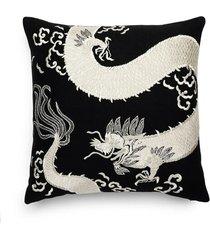natori mayon dragon embroidery pillow case, black/cream natori