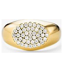 anello a sigillo in argento sterling con placcatura in metallo prezioso e pave