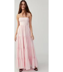 pretty pink straight neck tiered gown