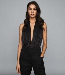 reiss cleona - metallic halterneck bodysuit in black, womens, size xl