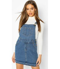 denim dungaree frayed hem pinafore dress, mid blue