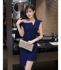pf251 sexy single/slopping shoulder asymmetrical blouse  size s-xl, navy