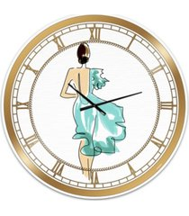 "designart evening dress fashion large fashion wall clock - 36"" x 28"" x 1"""
