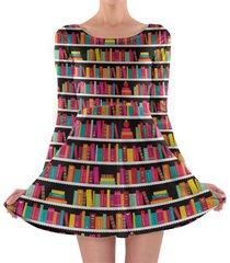 library book case longsleeve skater dress