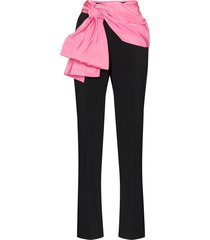 carolina herrera contrast sash trousers - black
