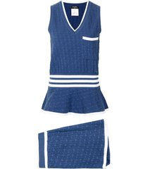 chanel pre-owned knitted vest and shorts set - blue