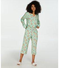 hunkemöller capri pyjamasunderdel i vävt tyg grön