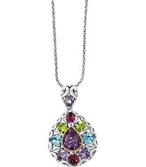 effy multi-gemstone pendant (6-5/8 ct. t.w) pendant in 18k yellow gold and sterling silver