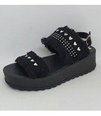sandalia negra  ladyskay corazones