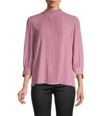karl lagerfeld paris women's pleated high-neck blouse - cameo rose - size m