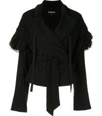 ann demeulemeester ruffled sleeves jacket - black