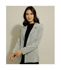 blazer longo de tweed alfaiatado cinza claro