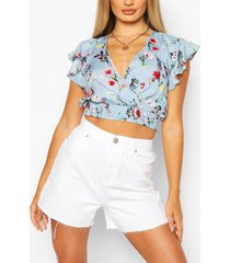floral print wrap over top, blue
