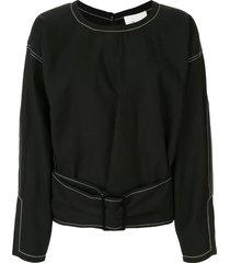 3.1 phillip lim belted denim pullover top - black