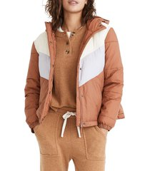 women's madewell chevron colorblock packable puffer jacket, size xx-small - brown