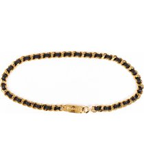 chanel 31 rue cambon medallion black leather gold tone belt black/gold/logo sz: