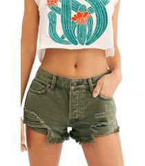 women's free people loving good vibrations cutoff denim shorts, size 24 - green