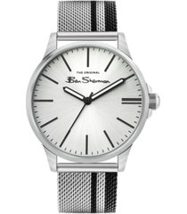 ben sherman men's black silver-tone stainless steel classic three hand watch, 41mm