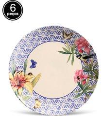 conjunto 6pã§s pratos rasos porto brasil coup garden branco - branco - dafiti