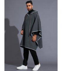 capa de manga murciélago suelta irregular para hombre capucha