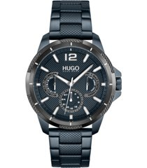 hugo men's #sport blue stainless steel strap watch 46mm