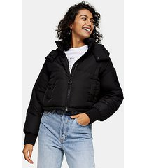 black cropped padded puffer jacket - black