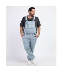 macacão jeans masculino plus size com bolsos azul médio