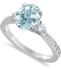 gemstone bridal aquamarine (1 1/2 ct. t.w.) & diamond (1/3 ct. t.w.) engagement ring in 14k white gold