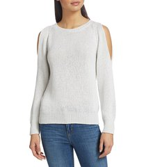 saks fifth avenue women's collection sequin pullover - white - size l