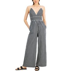 inc international concepts striped adjustable-strap jumpsuit, created for macy's
