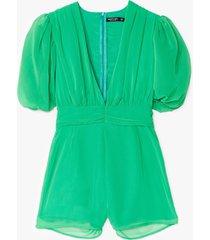 womens old school romantic puff sleeve romper - green