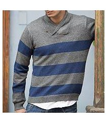 men's alpaca blend sweater, 'cortijo man in blue' (peru)