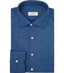 camicia da uomo su misura, canclini, denim blu chiaro tinta unita, quattro stagioni | lanieri