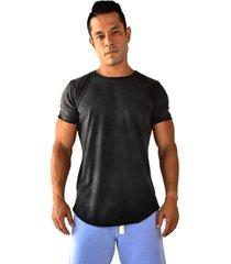 camiseta longline brohood preto estonado - kanui