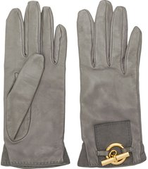 hermès pre-owned 1990's gold-tone detail gloves - grey