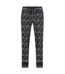 dolce & gabbana calça de pijama com estampa de logo - preto
