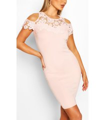 bodycon midi jurk met kant, roze