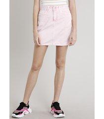 saia de sarja feminina curta com bolso rosa claro