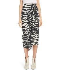 women's isabel marant zebra print stretch silk drape midi skirt