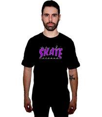 camiseta manga curta skate eterno flame preta - kanui