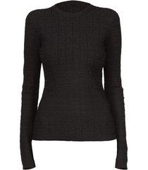 black viscose monogram sweater