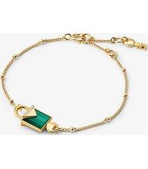 mk bracciale con lucchetto in argento sterling placcato oro 14k - oro (oro) - michael kors