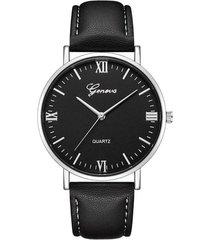 reloj pulso cuero pu cuarzo dial grande clasico gnv-q negro plateado