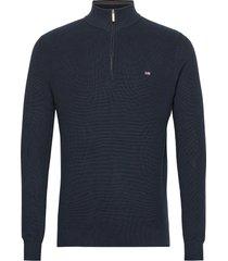 clay organic cotton half zip sweater knitwear half zip jumpers blauw lexington clothing