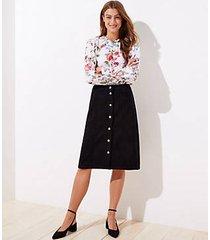 loft petite faux suede button front skirt