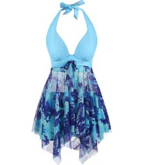 halter butterfly print bowknot mesh handkerchief tankini swimwear