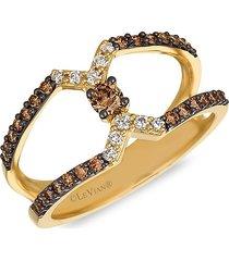 le vian women's chocolatier® 14k honey gold™, chocolate diamond® & vanilla diamond® ring - size 7